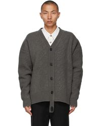 we11done Grey Felted Wool Cable Cardigan