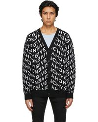 Givenchy - ブラック & ホワイト Refracted ロゴ カーディガン - Lyst