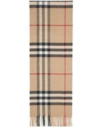 Burberry - Foulard a carreaux brun clair The Cashmere Classic - Lyst