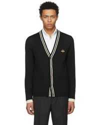 Gucci - Black Embroidered Bee Patch Cardigan - Lyst