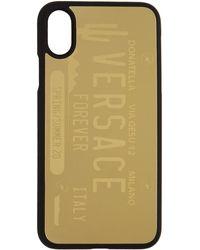 Versace ゴールド ライセンス プレート ロゴ Iphone X/xs ケース - ブラック