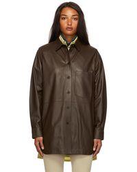 Yves Salomon Long Leather Shirt - Brown