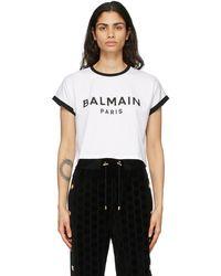 Balmain - ホワイト & ブラック クロップド ロゴ T シャツ - Lyst