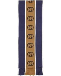 Gucci Blue And Beige Wool Interlocking G Scarf