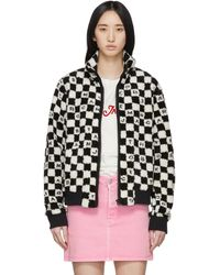 Marc Jacobs ブラック And ホワイト ロゴ チェック フリース ジャケット