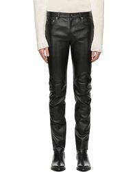 Saint Laurent - Pantalon skinny en cuir noir - Lyst