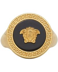 Versace - Black Resin Medusa Ring - Lyst