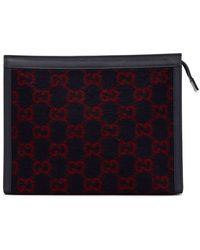Gucci Navy Wool GG Pouch - Blue