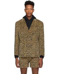 Noah Brown Leopard Double-breasted Blazer
