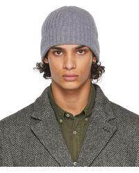 Officine Generale Bonnet gris en maille côtelée de laine