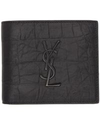 Saint Laurent - Black Croc Monogram East/west Wallet - Lyst