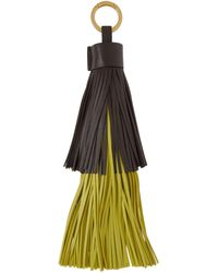 Bottega Veneta Porte-clés à franges brun et vert - Multicolore