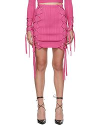 Hervé Léger Mini-jupe variegated en dentelle côtelée - Rose