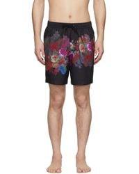 Dries Van Noten Black And Multicolour Floral Print Swim Shorts