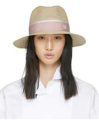 Maison Michel Beige And Pink Straw Henrietta Hat