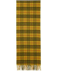 Burberry - Yellow Cashmere Vintage Check Scarf - Lyst