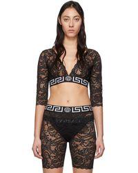 Versace Lace Long Sleeve Crop Top - Black