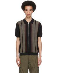 Beams Plus ブラック ストライプ ポロシャツ