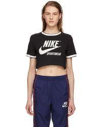 Nike - Black Cropped Classic Ringer Logo T-shirt - Lyst