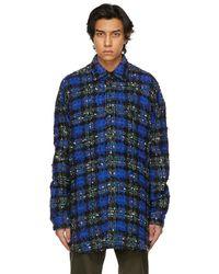 Faith Connexion Blue & Green Tweed Oversized Shirt