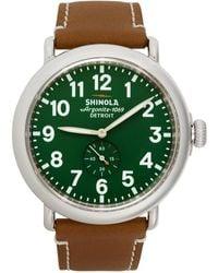Shinola Silver And Green The Runwell 47mm Watch
