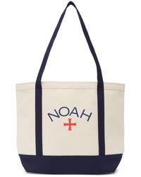 Noah オフホワイト And ネイビー Core ロゴ トート - ナチュラル