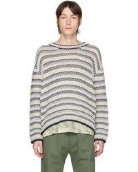 Loewe オフホワイト & ネイビー ウール ストライプ セーター - グレー