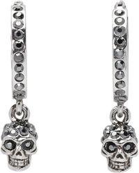 Alexander McQueen - Silver Mini Skull Hoop Earrings - Lyst