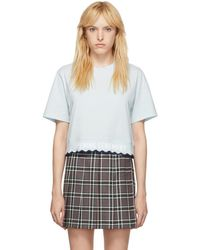 Opening Ceremony Blue Scallop Oc Elastic Logo Cropped T-shirt