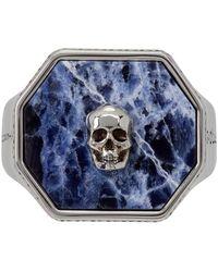 Alexander McQueen Bague chevalière Skull argentée et bleue en sodalite - Métallisé