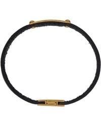 Saint Laurent Black Id Plaque Bracelet