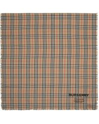 Burberry Foulard en cachemire brun clair Lightweight Vintage Check - Multicolore
