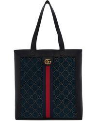 Gucci Cabas en velours bleu GG