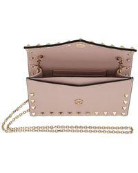 Valentino Pink Garavani Rockstud Envelope Wallet Bag