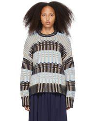 3.1 Phillip Lim ブルー & ベージュ ストライプ セーター
