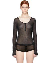 Kiki de Montparnasse - Black Ribbed Jersey Henley T-shirt - Lyst