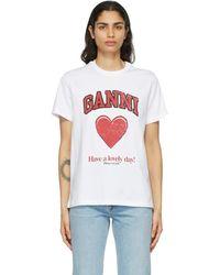 Ganni T-shirt en coton blanc Heart