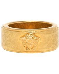 Versace Gold And Black Logo Ring - Metallic