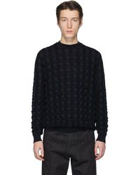 Jil Sander ブラック And ネイビー バスケット ウール セーター