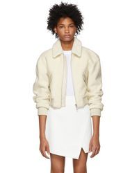 Tibi - White Cropped Shearling Gus Jacket - Lyst