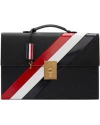 Thom Browne Black Diagonal Stripe Lock Briefcase