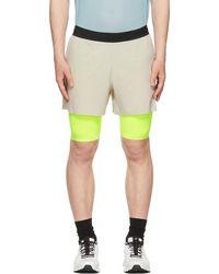 Soar Running & Yellow Dual Run 2.0 Shorts - Grey