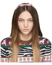 Miu Miu Pink Bow Crystal Headband - Brown