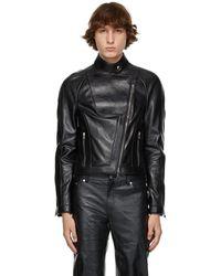 Peter Do Black Leather Everyday Biker Jacket