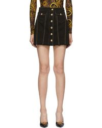 Versace Jeans Couture ブラック デニム コントラスト ステッチ ミニスカート