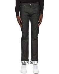 Versace Black Greca Slim-fit Jeans