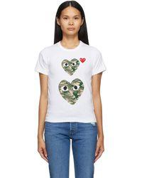 COMME DES GARÇONS PLAY T-shirt a motif camouflage blanc Double Heart