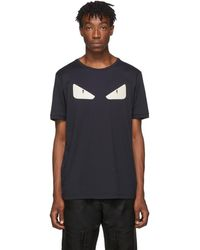 Fendi Navy Leather Bag Bugs T-shirt - Blue