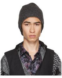 Engineered Garments グレー ウール ニット ビーニー - ブラック