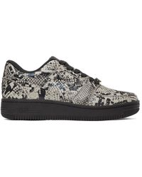 A Bathing Ape Beige & Black Python Sta Sneakers - Natural